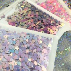 Glitter Heart Sequins Size Mix DIY Resin Shaker Charms Shiny Fillings Holographic Puffy Heart Cuts Decor Sparkle Paillette Slime