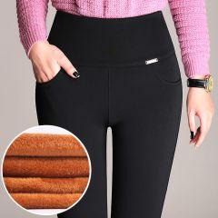Women Office Lady Slim Elegant Winter Warm Pencil Pants