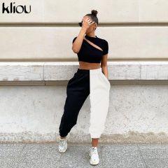 waist black&white patchwork sporty harem pants