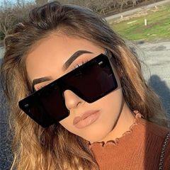 Flat Top Oversize Square Sunglasses Women Fashion Retro Gradient Sun Glasses Men Blue Big Frame Vintage Eyewear
