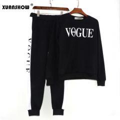 Autumn Winter Women's Suit VOGUE Letter Printed 0-Neck Sweatshirt + Patchwork Long Pant 2 Piece Set