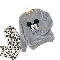 Autumn Winter Women Thicken Coral fleece pajamas set sleepwear Mickey Cartoon sweet Long sleeve Home service suit Female