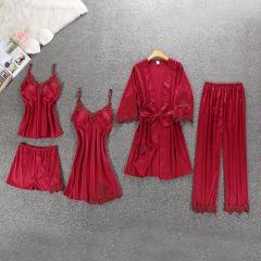 5pcs Suit Ladies Sexy Silk Satin Pajama Set Female Lace Pyjama Set Sleepwear Autumn Winter Home Wear nightwear For Women