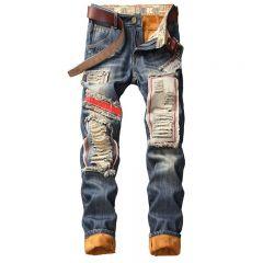 Denim Designer Hole Jeans High Quality Ripped for Men Autumn Winter Plus Velvet HIP HOP Punk Streetwear