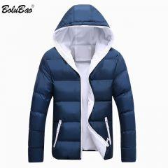 Winter Men Parkas Coat New Men's Casual Fashion Parkas Male Simple Solid Color Hooded Parka Jackets Clothing