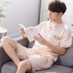 Spring Summer Autumn Men Satin Silk Pajamas Sets of T-shirt & Shorts Male Pijama Sleepwear Leisure Home Clothing