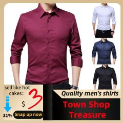 casual long-sleeved solid color shirt Slim version male social business dress shirt brand men's clothing soft
