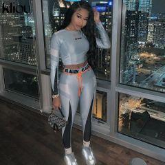 High elastic letter print Fitness tracksuit woman 2 piece set skinny Long sleeves crop Top slim Leggings Sportswear Suit