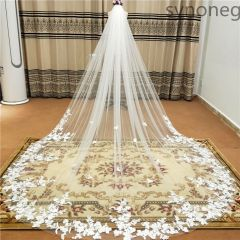 3m One Layer Wedding Veil With Comb White Lace Edge Bridal Veils Ivory Appliqued Cathedral Wedding Veil