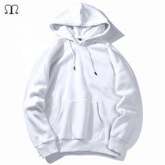 Warm Fleece Hoodies Men Sweatshirts New Spring Autumn Solid White Color Hip Hop Streetwear Hoody Man's Clothing EU SZIE XXL