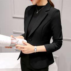 Formal Blazers Lady Office Work Suit Pockets Jackets Coat Slim Black Women Blazer Femme Jackets