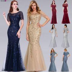 Burgundy Bridesmaid Dresses Ever Pretty Elegant Mermaid O Neck Sequined Wedding Party Dress Formal Gowns Robe De Soiree