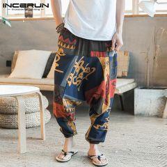 Baggy Cotton Linen Harem Pants Men Hip-hop Women Plus Size Wide Leg Trousers Casual Vintage Long Pants Pantalones Hombre