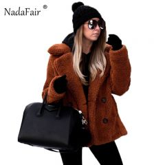 Casual Teddy Coat Winter Fleece Plus Size Warm Thick Faux Fur Jacket Coat Women Pockets Plush Overcoat Outwear