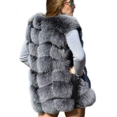 Women Winter Fashion Medium Long Artifical Fox Fur Vests Woman Warm Fake Fox Fur Coats Female Ladies