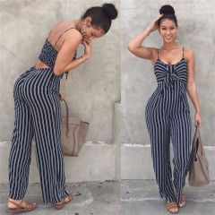 Elegant Striped Sexy Spaghetti Strap Rompers Women Sets Sleeveless Backless Bow Casual Wide Legs Jumpsuits Leotard Overal