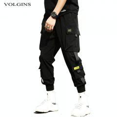 Streetwear Hip Hop Black Harem Pants Men Elastic Waist Punk Pants With Ribbons Casual Slim Jogger Pants Men Hip Hop Trousers