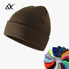 Winter Hats Short Cuffed Cap Warm All Match Bonnet For Woman Short Knitted Ribbed Beanie Casual Breathable Stretchy Cap