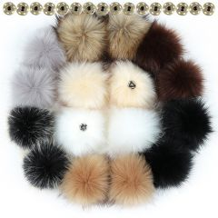 10 12 15cm False Hairball Hat Ball Pom Pom DIY Ball Wholesale Cap Accessories Multicolor Faux Fox Fur PomPom With Buckle