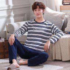 Stripe pajamas men long sleeve pijama set for male plus size sleep clothing casual nightie sleepwear man pyjamas suit autumn