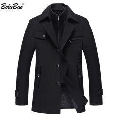 Men Winter Wool Coat Men's New High Quality Solid Color Simple Blends Woolen Pea Coat Male Trench Coat Casual Overcoat