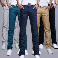 Men pants Cotton Slim Pant Straight Trousers Fashion Business Solid Khaki Black Pants