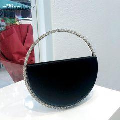 Colour Diamond Circular Evening Bag Women New Round Handle Rhinestone Dinner Clutch Purse Ladies Half Moon Handbag Fashion
