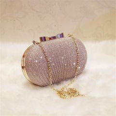 Golden Evening Clutch Bag Women Bags Wedding Shiny Handbags Bridal Metal Bow Clutches Bag Chain Shoulder Bag