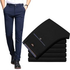 Men's Suit Pants Spring and Summer Male Dress Pants Business Office Elastic Wrinkle Resistant Big Size Classic Trousers Male