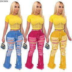 Summer Denim Pants Women Hole High Waist Zipper Fly Jeans Ripped Flare Spliging Trousers Street Skinny High Waist Pants