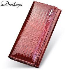Genuine Leather Women's Wallets Fallow Long Ladies Double Zipper Wallet Clutch Bag Design Red Purse Crocodile Purses