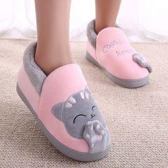 Women Winter Warm Home Slipper Couple Shoes Female Plush Cat Animal Slip On Soft Indoor Flats Comfort Ladies & Man Plus Size