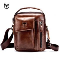 Genuine Leather men's Crossbody bag Vintage cow leather man Messenger Bags Small Shoulder bag for male Casual handbag