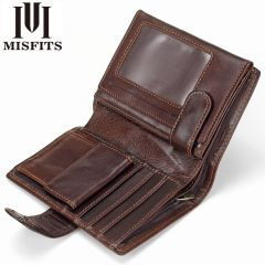 Vintage Men Wallet Genuine Leather Short Wallets Male Multifunctional Cowhide Male Purse Coin Pocket Photo Card Holder