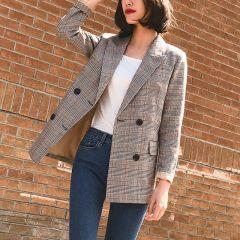 Women Blazer Pockets Jackets Female Retro Suits Coat Feminino blazers Outerwear high quality 4.8