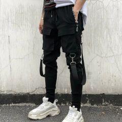 Cargo Pants Side Pockets Pants Men's Hip Hop Patchwork Ripped Sweatpants pantalon homme
