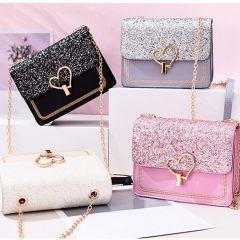 New Arrival Women Bag Crossbody Bags for Women heart Buckle Handbag Glitter Sequins Chain Shoulder Bag PU Leather Handbags