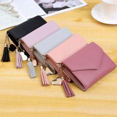 Women's Wallet Cute Student Tassel Pendant Trend Small Fashion PU Wallet Coin Purse Women Ladies Card Bag For Women