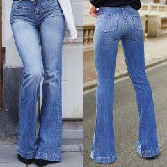 Flare Faux Jeans Pants Women Thin Vintage Denim Ladies High Waist Stretch Pocket Trousers Size Wide Leg Jeans