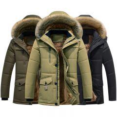 Thick Warm Parka Fleece Fur Hooded Casual Jacket Coat Pockets Windbreaker Outwear