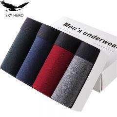 4pcs/lot Male Panties Cotton Men's Underwear Boxers Breathable Man Boxer Solid Underpants Comfortable Brand Shorts Jdren
