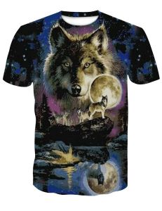 Men clothes Newest Harajuku Wolf 3D Print Cool T-shirt Men/Women Short Sleeve Summer Tops Tees animal t shirt Fashion
