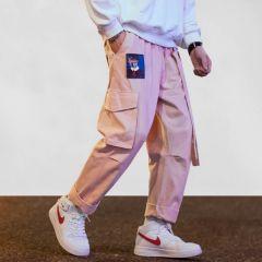 Streetwear Cargo Pants Men Women Ribbon Letter Embroidery Hip Hop Joggers Trousers Casual Pink Harem Pants