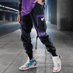 Hip Hop Ribbons Cargo Pants Men Joggers Pants Streetwear Men Fashion Mens Elastic Waist Pant Ribbons Cotton Black