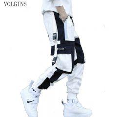 Men's Multi Pockets Cargo Harem Pants Hip Hop Casual Male Track Pants Joggers Trousers Fashion Harajuku Men Pants