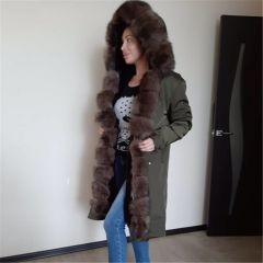 Waterproof Real Fur Coat X-long Parka Winter Jacket Women Natural Fox Fur Collar Hood Thick Warm Outerwear Detachable New