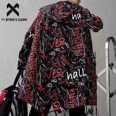 Long Jacket Trench Men Full Letter Print Harajuku Windbreaker Nightclub Overcoat Male Casual Outwear