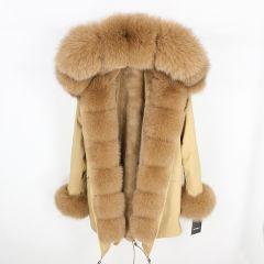 fashion winter jacket women real fur coat natural real fox fur collar loose long parkas big fur outerwear Detachable