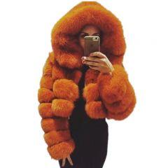 Natural Real Women Fox Fur Coat With Hood Luxury Female Fur Jacket Thick Warm Fashion Female Winter Genuine Fur Coats