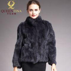High Quality Real Fur Coat Fashion Genuine Rabbit Fur Overcoats Elegant Women Winter Outwear Stand Collar Rabbit Fur Jacket